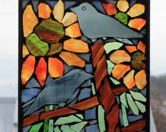 Sunflowers and Black Birds  -  Stained Glass SunCatcher or wall Decoration