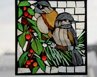 Handmade Mosaic 2 birds     Stained Glass SunCatcher or wall Decoration
