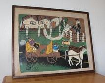 Folk Art Painting Southwestern Farm - Primitive Original Signed Carlos -20 x 17 Framed