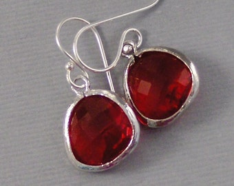 Cranberry Droplets,Ruby Earrings,Silver Earrings,Sterling Silver,Bride,Red,Red Wedding,Ruby Birthstone,Ruby Earring,Red Valleygirldesigns