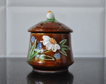 Glazed Floral Sugar Pot made in Japan