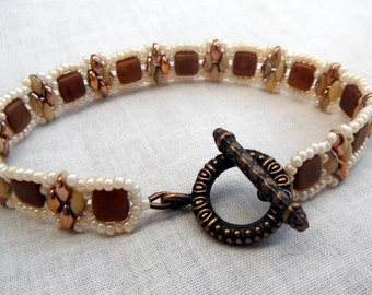 Framed Square Bracelet - Caramel Brown Ivory Copper