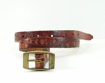 western tooled leather slim belt 26 brown floral vintage cowboy cowgirl flowers