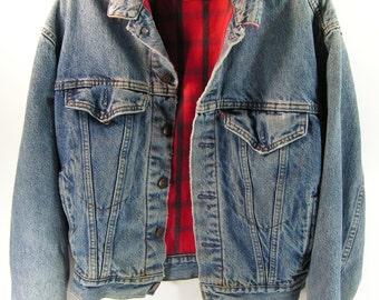 levis denim flannel lined jacket blue jean men's Small S vintage retro 1980's usa