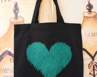 Galentine's Day inspired Scribble Heart tote bag.  TREAT. YO. SELF.