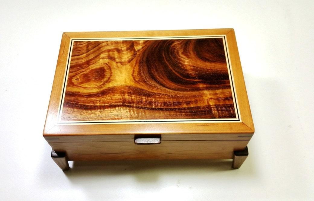 Keepsake Box Mens Valet Box Wooden Cherry With Hawaiian