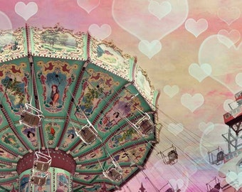 Pastel Carnival Print, Girl Nursery Decor, Pink, Mint, Yellow, Circus Swings, Girls Bedroom Wall Art