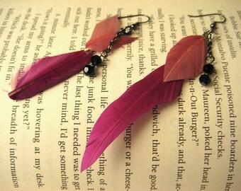 Feather Earrings Long Dangle Earrings Gift for Her Mom Gift Statement Earrings Pink Boho Earrings Bohemian Earrings for Her Christmas Gift