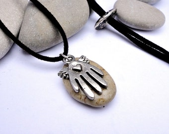 Beach  stone necklace. Natural stone pendant. Spanish beach pebble and lucky hand charm. Adjustable Suede necklace. Greek bead