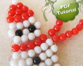 DIY PDF Tutorial - Mr. Snowman, Beaded Ornament / Souvenir / Party favor