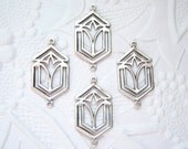 4 -Antique silver plated Art Deco 2 ring connector earring drop - Jl212