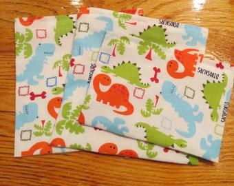3 Bag Set Reusable Snack Sandwich Bags Modern Dinosaur Print