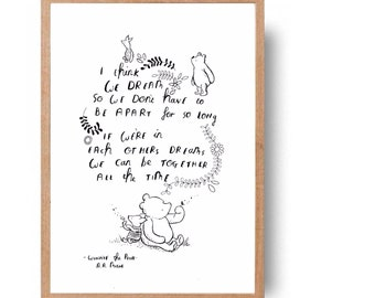 Winnie the Pooh and Piglet cute quote - hand written, hand drawn pooh quote and illustration