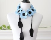 Crochet Sky Blue and Black Flower Lariat, Necklace, Scarf, Scarflette