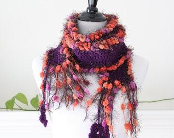 Crocheted Dark Purple Lavender Orange Neckwarmer, Scarf