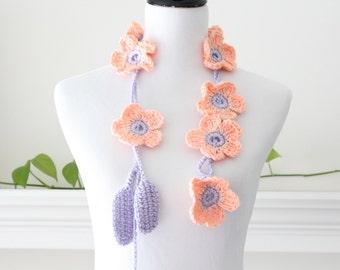 Crochet Lariat Accessories Peach, Lavender Necklace, Scarf, Scarflette