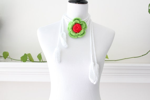 Crocheted White, Green, Red Necklace