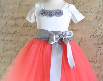 Coral and grey Flower Girl tutu skirt for weddings-- sewn and long.