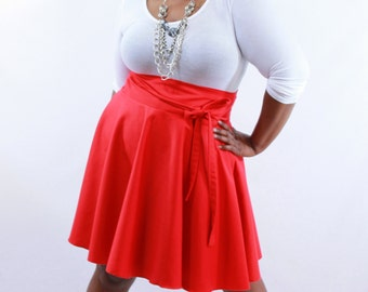 "Plus Size Skirt / Women plus size high waist / plus size Wine Red, Khaki, Royal Blue, Navy, Green, White ( 14 - 24 ) 25"" L"