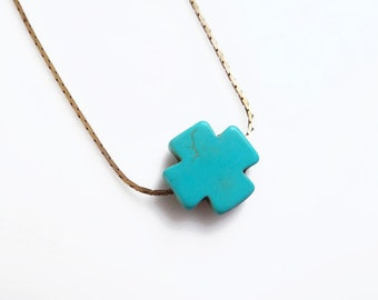 Turquoise Cross Necklace, Simple Everyday Necklace, Teal Cross Necklace. Layering Necklace