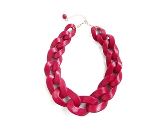 Chunky Chain Link Necklace, Fuchsia Oversized Statement Necklace