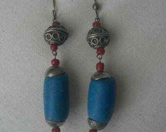 Vintage Long Blue Jasper Bead Dangling Earrings with Beading Embellishments