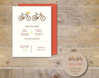 Save The Dates, Bicycle Save The Dates,  Wedding Save The Date, Affordable Wedding