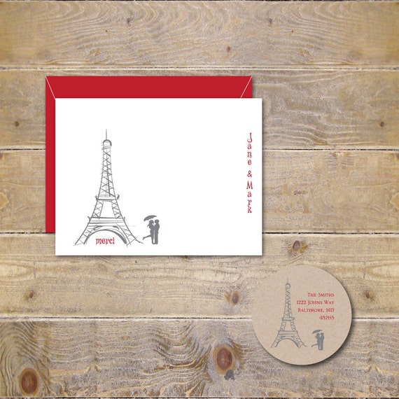 Wedding Thank You Cards, Eiffel Tower, Thank You Cards, Paris, Bridal Shower, Bridal Shower Thank You Cards, Paris Weddings, Paris Weddings