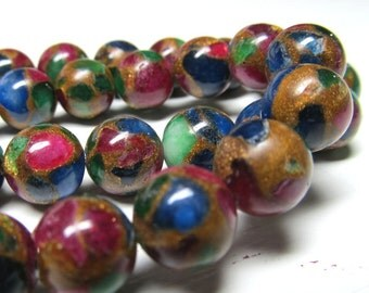 Jasper Beads 8mm Natural Multi Colored Jasper Cloisonne Smooth Round Beads -  12 Pieces