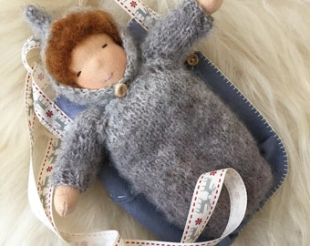 Waldorf doll baby 7 inches. Winter baby.