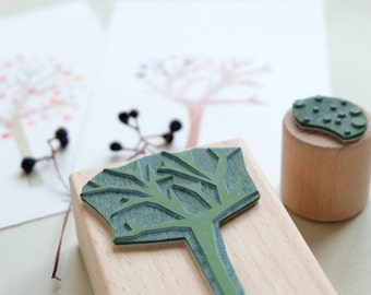Rubber Stamp Set: Spiky Tree with dots