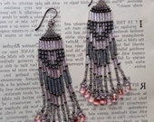 Pink and bronze beaded earrings