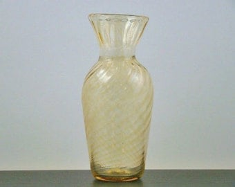 Textured Blown Glass Vase - Amber Color