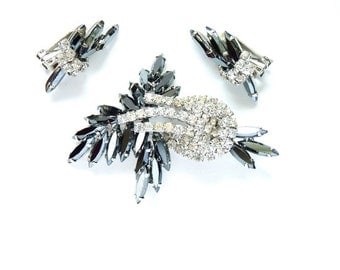 Vintage Designer Hobe Clear Rhinestone Pin and Earring Set with Hematite Navettes c. 1960s