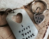 Dog tag with heart key chain or necklace set
