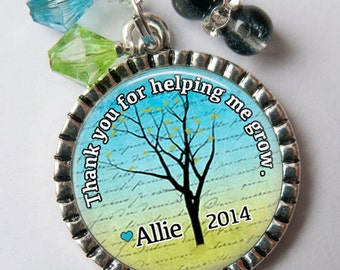 TEACHER Key Chain, Thank You For Helping Me Grow Keychain, Daycare, Preschool, Babysitter, Personalized Gift