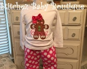Sweet and Sassy Gingerbread Girl Chevron Christmas Ruffle Pants Outfit Set with M2M hairbow