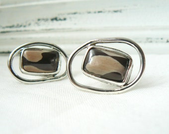 Sterling silver Cuff Links with Zebra print stones - jewelry men 925 gemstone cabochon - READY TO SHIP