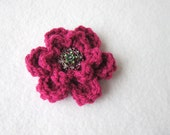Flower Brooch, Fuchsia Flower Pin, Mothers Day Gift, Dark Rose Flower Pin with Fancy Button, Gifts Under Ten Dollars Valentines Day Gift