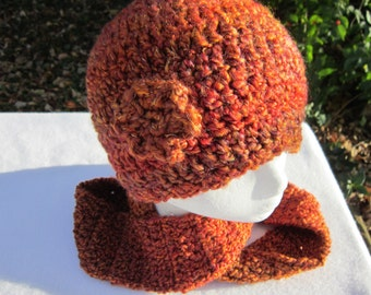 Crocheted Rust Hat and Infinity Scarf, Shades of Rust Colored Womens Cap and Scarf, Winter Wear by Charlene