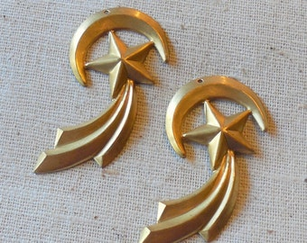 Vintage Solid Brass Stylized Moon and Star Drops (2) Mod, Retro, for your custom patina