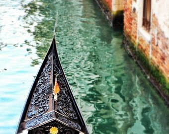 Fine Art Photography, Venice gondola on canal, Italy, blur 8x10 other sizes available