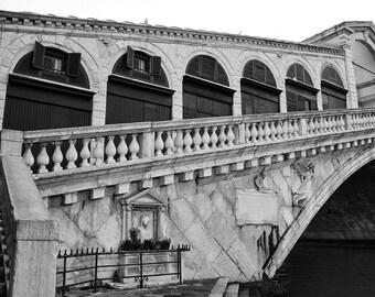 Fine Art photography, Rialto Bridge, Venice, Italy, empty early morning, black and white, vintage, 8x12