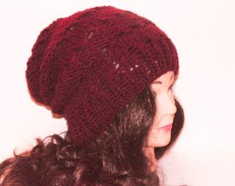 Slouchy Beanie Hat, Burgundy Hat, Knitted Beanie, Womans Accessories, Teen Hat, Winter Hat