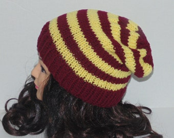 Slouchy Beanie Hat, Slouchy Mens Hat, Yellow and Burgundy Hat