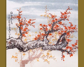 Original painting chinese art -Lovely cherry blossom tree No.40