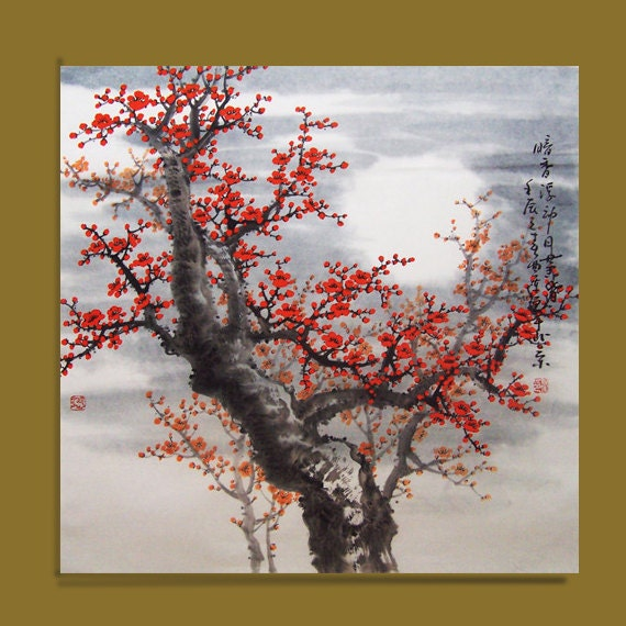 cherry blossom painting Original painting chinese art painting -Lovely cherry blossom tree No.48