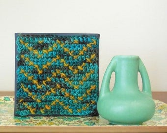 Chevron Crochet Picture - Cross stitch crochet art block - Painted Canvas - Mustard Turquoise Modern Art - Retro Zig zag Picture - Geometric