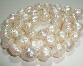 1/2 Strand, 8-10mm, White Rosebud Drusy Druzy Pearl, Fresh Water Rose Bud Pearls, Lustrous Cultured Baroque Pearls - 20% sale