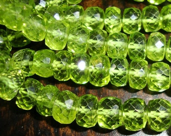 """2"""" Half strand, 3.8-4mm, Gorgeous Sparkling Genuine Peridot Micro Faceted Rondelles, August Stone"""